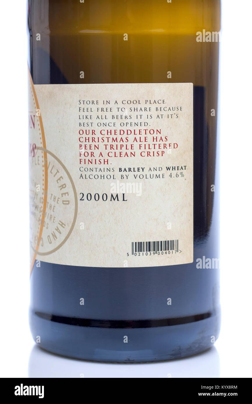 Bottle of Cheddington Christmas Ale - Stock Image