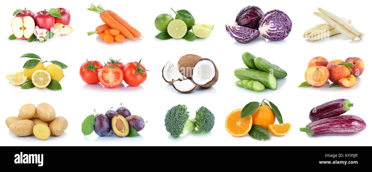 Fruits and vegetables collection apples oranges potatoes vegetable food isolated on a white background - Stock Image