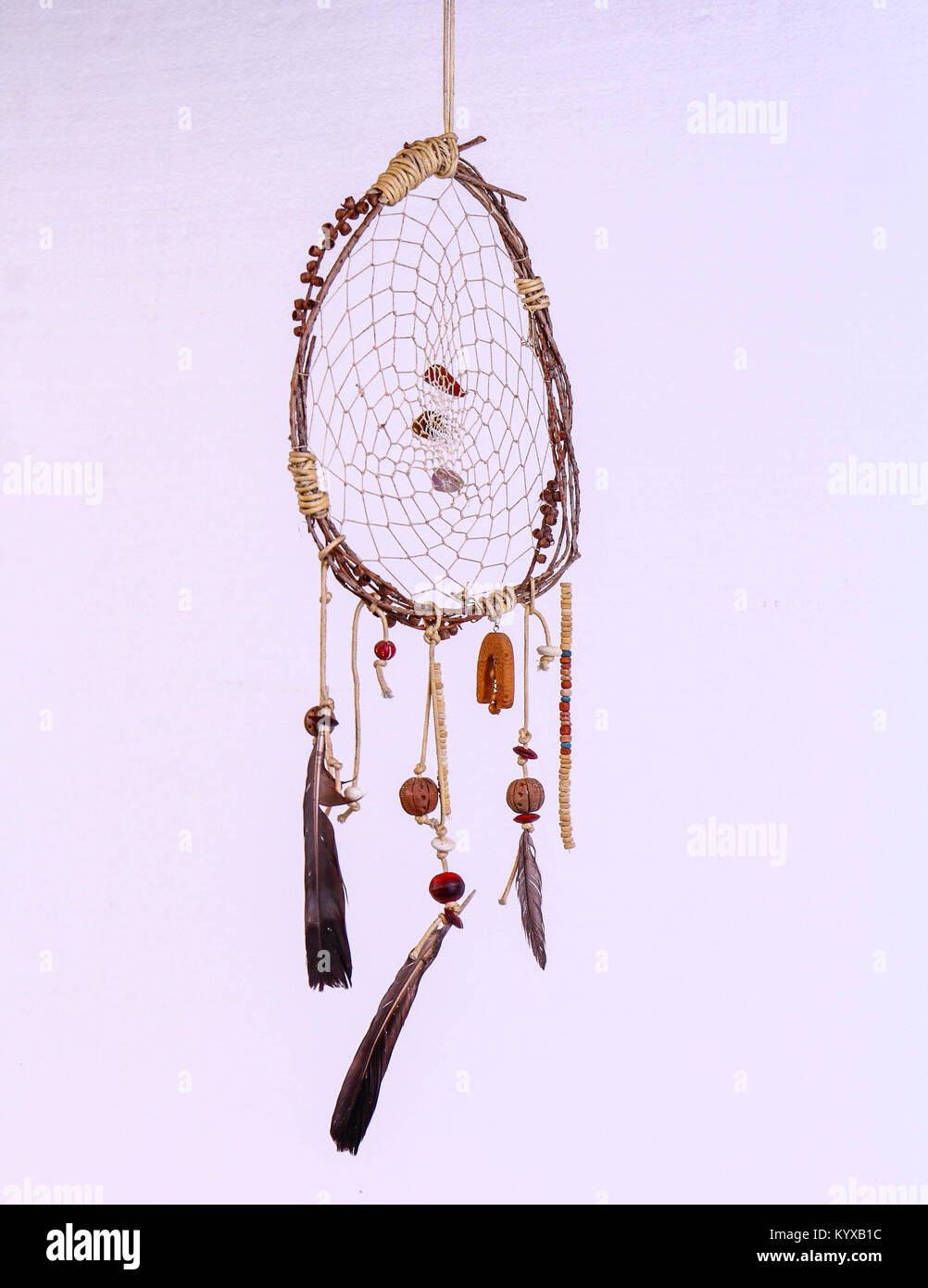 A dream catcher floats in the air, image in portrait format with copy space - Stock Image