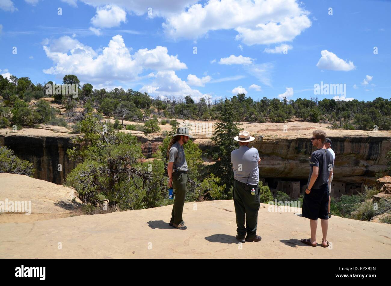 park rangers giving information to tourists at Mesa Verde National Park colorado USA - Stock Image