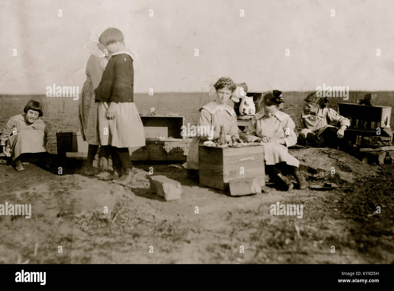 Original play houses conceived and executed by girls at the Oklahoma School for the Blind. Stock Photo