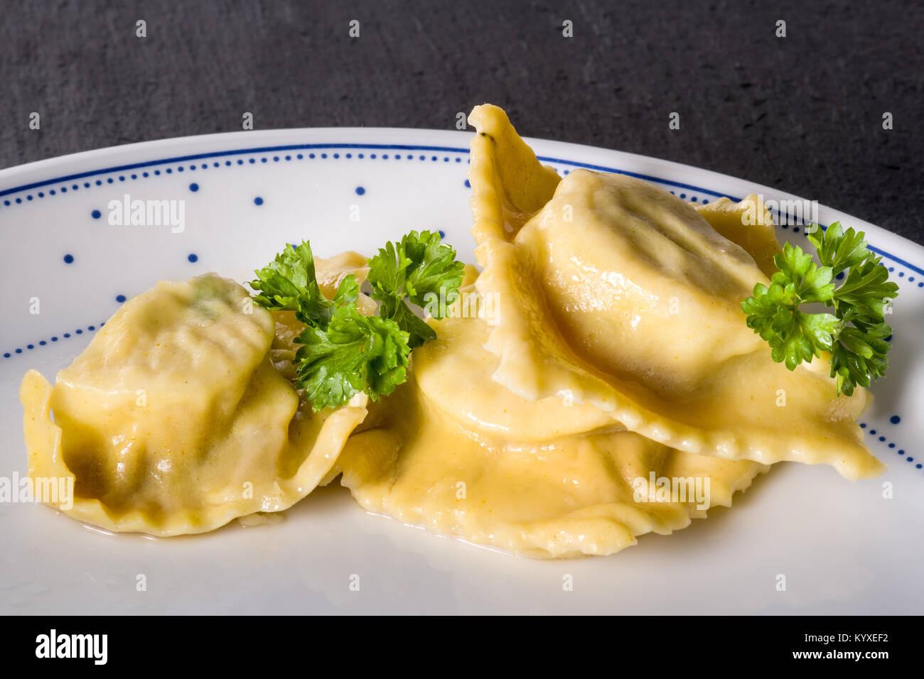 Pasta homemade handmade Ravioli - Stock Image