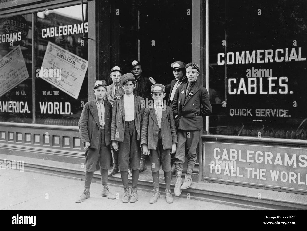 Postal Telegraph Messengers, Indianapolis, (Indiana has no age limit for messengers.) - Stock Image