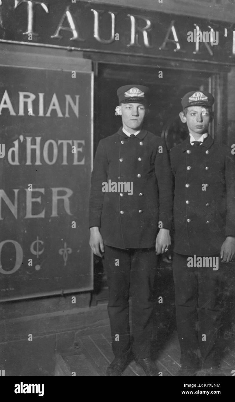 Jewish New York Boy Messengers for Western Union - Stock Image