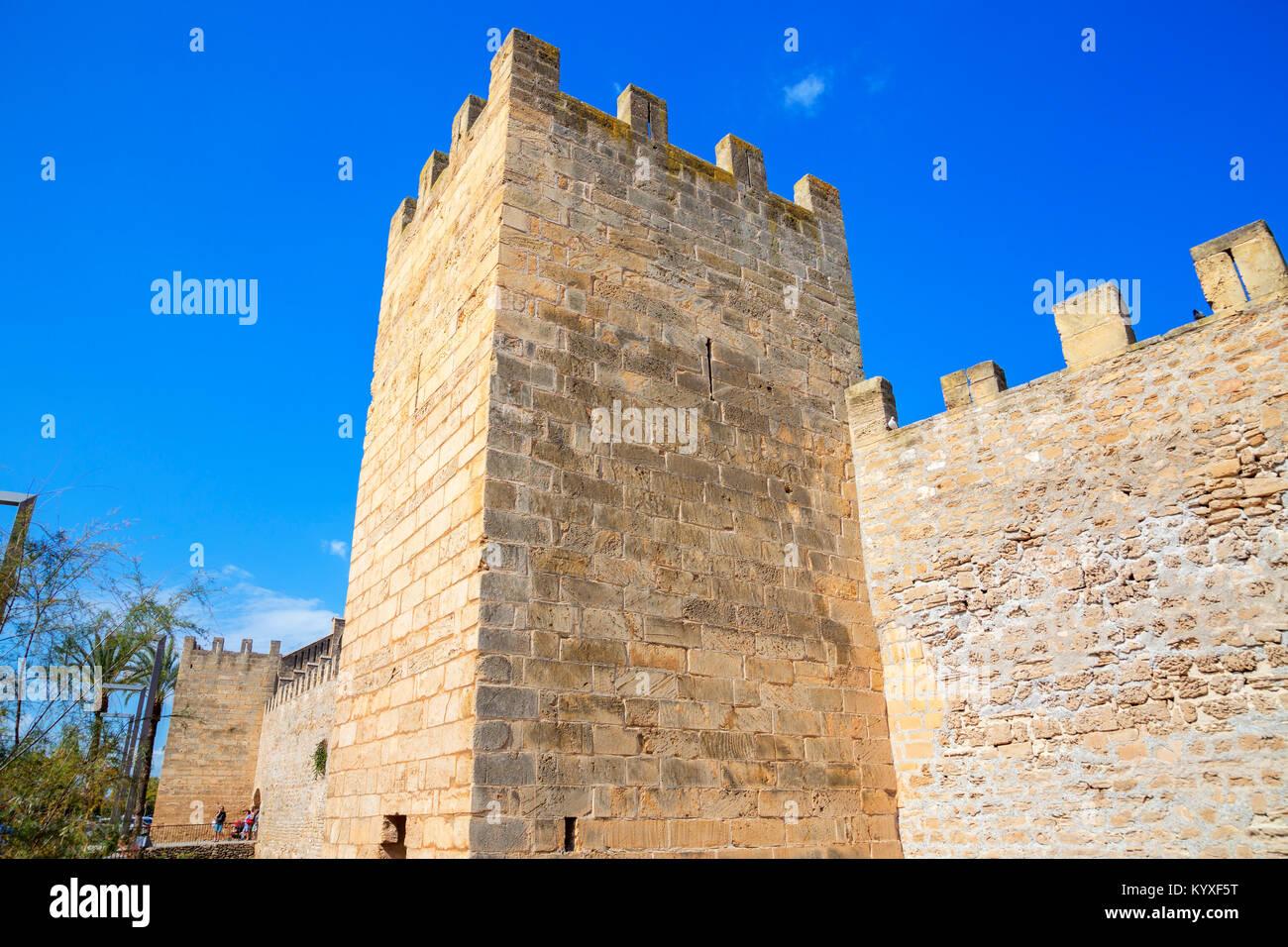 The medieval walls of Alcudia, Alcudia, Mallorca, Balearic Islands, Spain, Europe Stock Photo