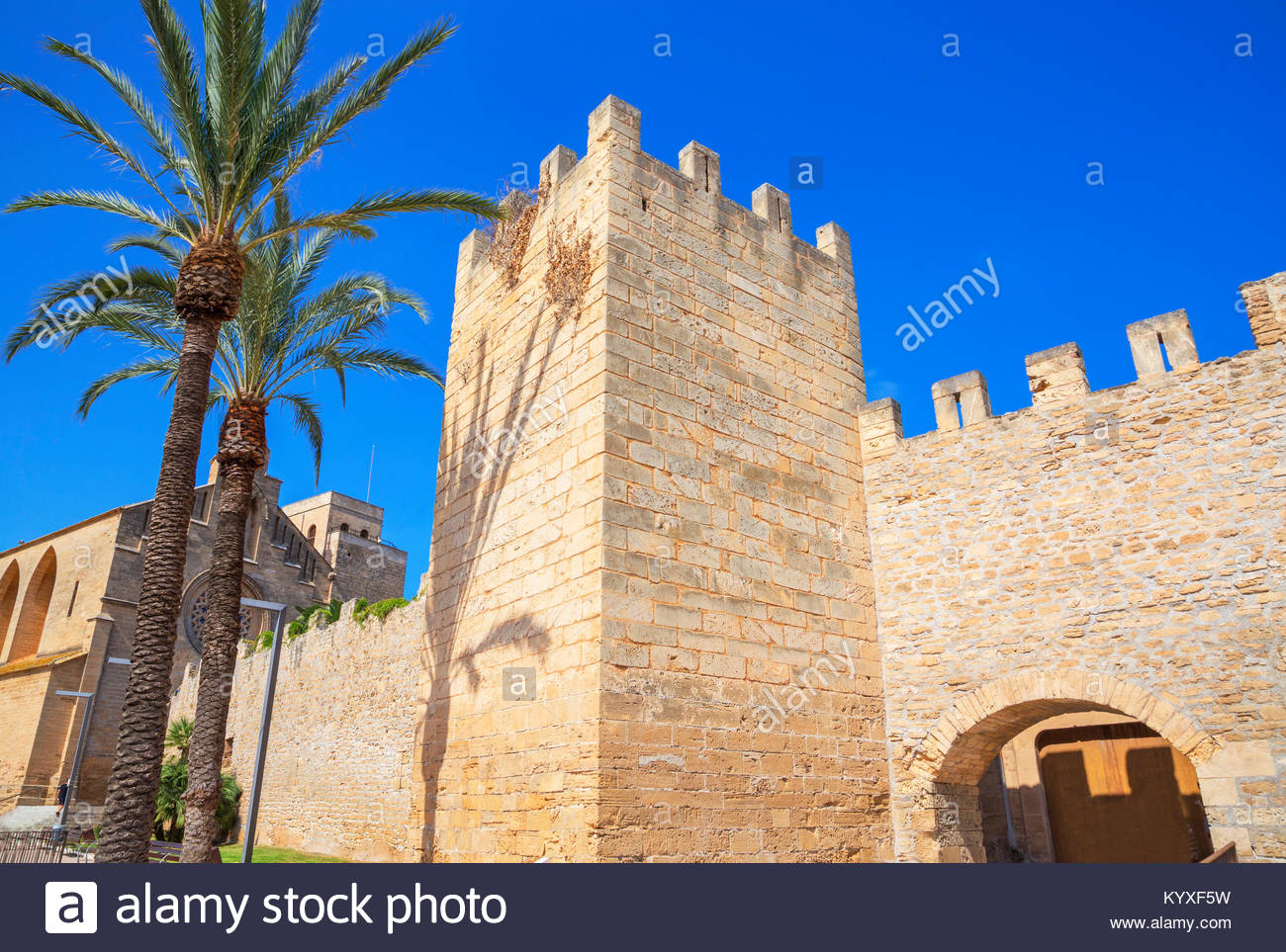 The medieval walls of Alcudia, Alcudia, Mallorca, Balearic Islands, Spain, Europe - Stock Image