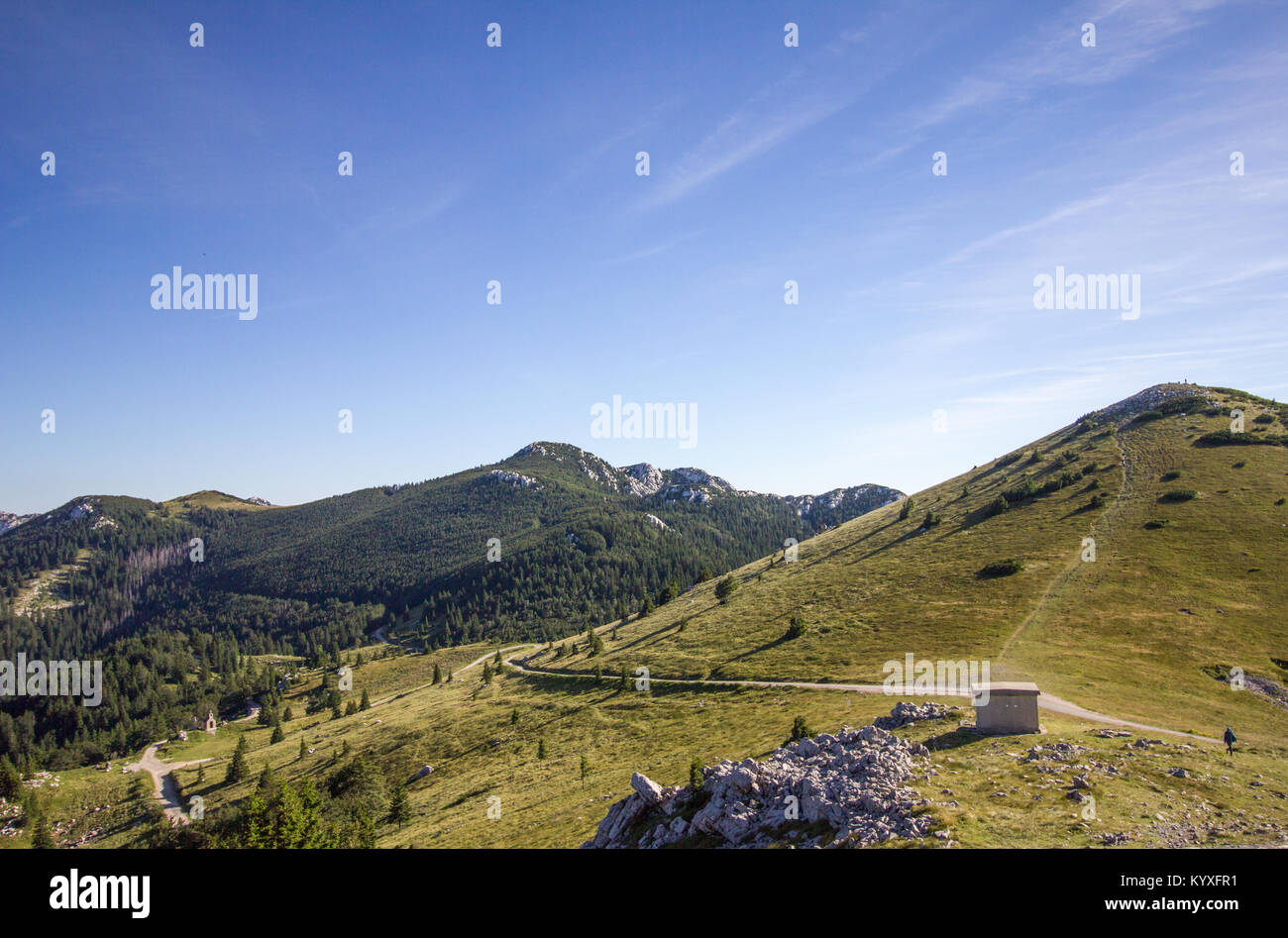 View south of paths and trails  from Zavizan - Northern Velebit National Park, Croatia -  Aug 2016 Stock Photo