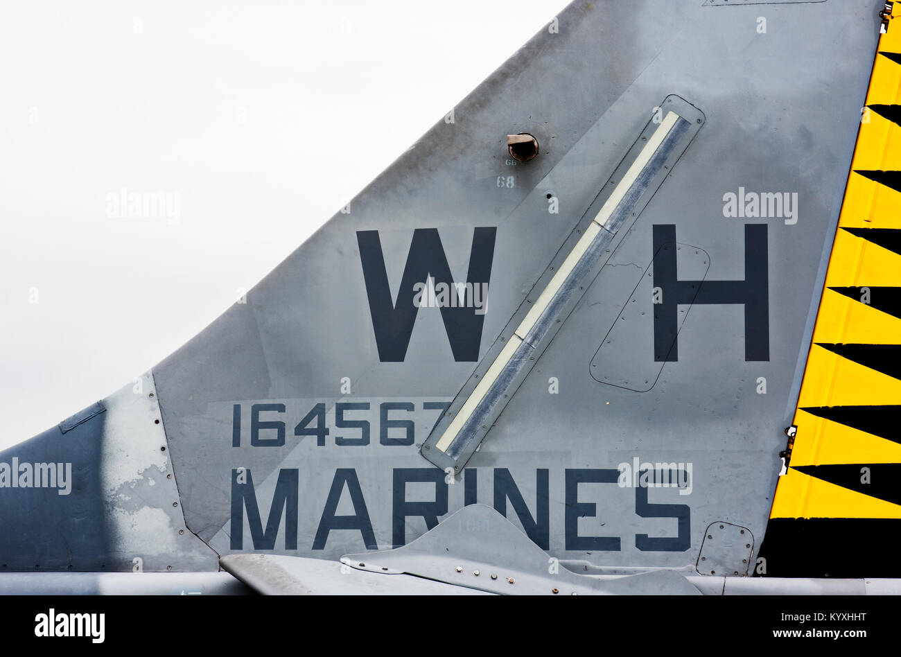 Tail of Marine Airplane at the Intrepid Sea-Air-Space Museum in Manhattan, New York City. Stock Photo
