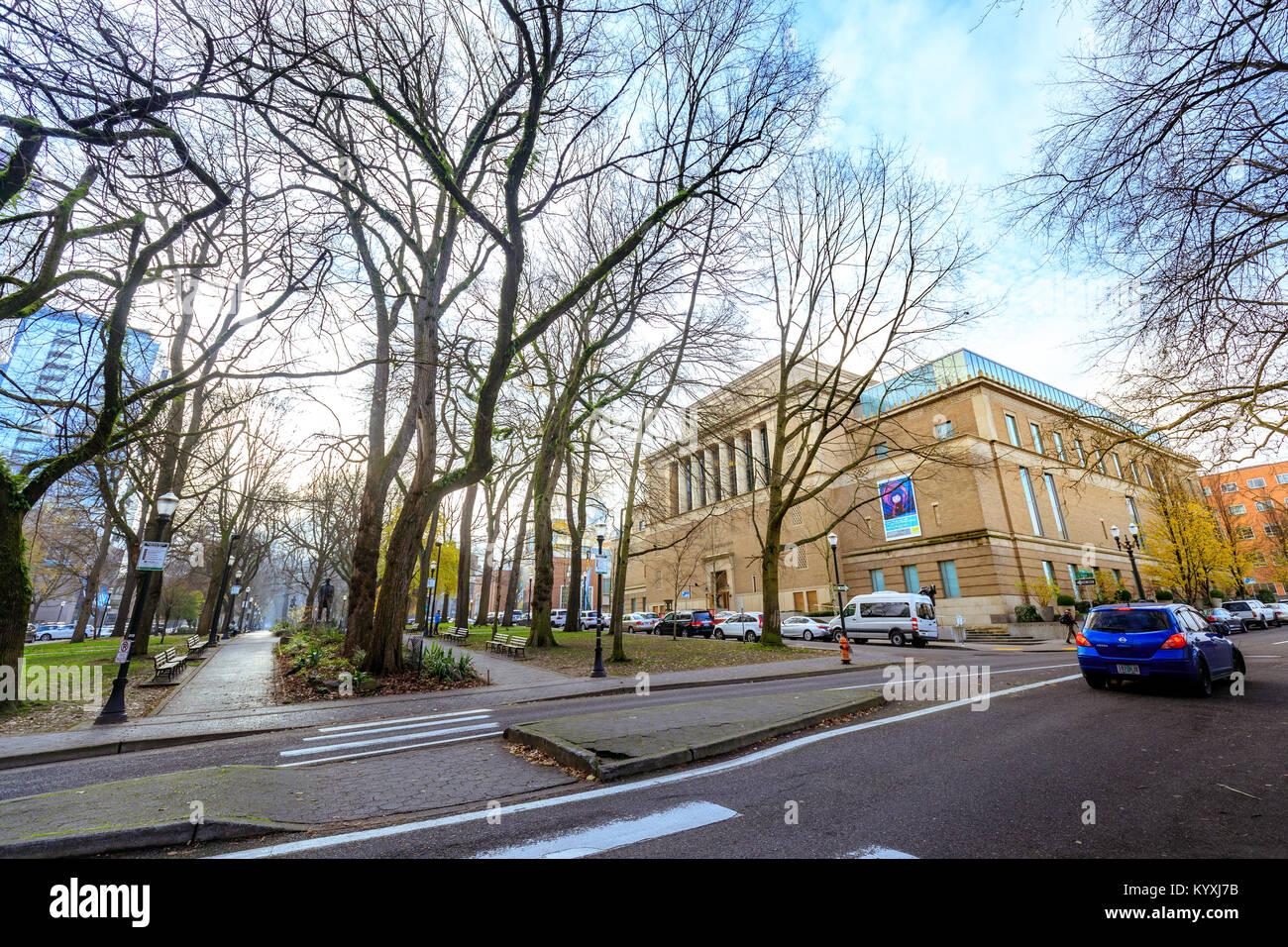 Portland, Oregon, United States - Dec 22, 2017 : Facade of the landmark Portland Art Museum. It is the oldest art museum on the West Coast of the Unit Stock Photo
