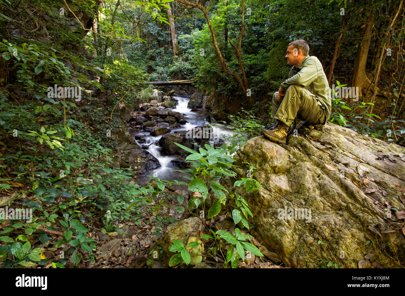 Hiker in the jungles of Thailand. - Stock Image