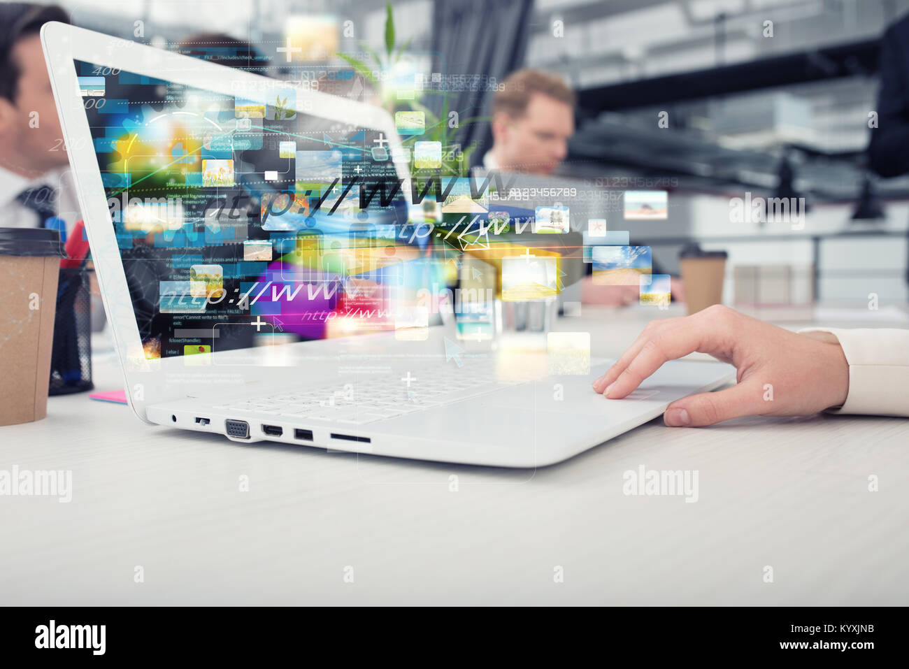 Businesswoman shares online document with a fast internet connection - Stock Image