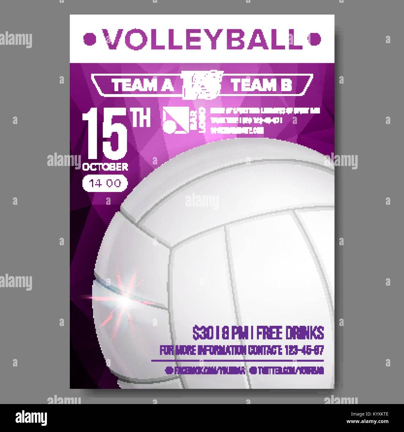 volleyball poster vector sport event announcement banner stock