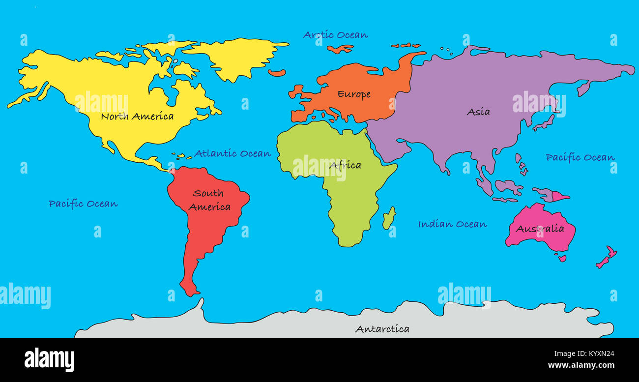 World map with highlighted continents in different colors stock world map with highlighted continents in different colors gumiabroncs Images