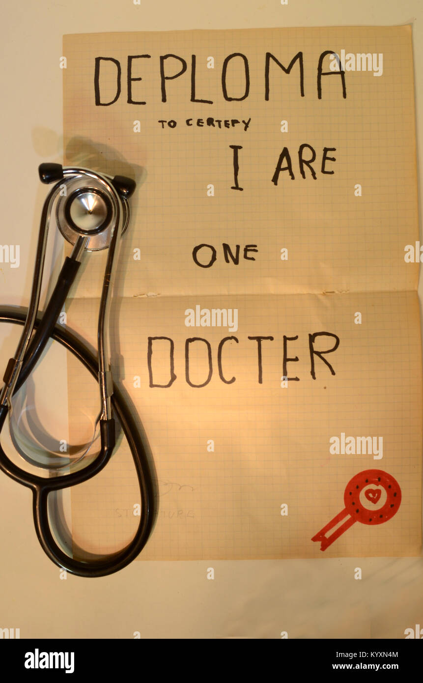 A Doctors 'diploma' of somewhat doubtul origin - Stock Image
