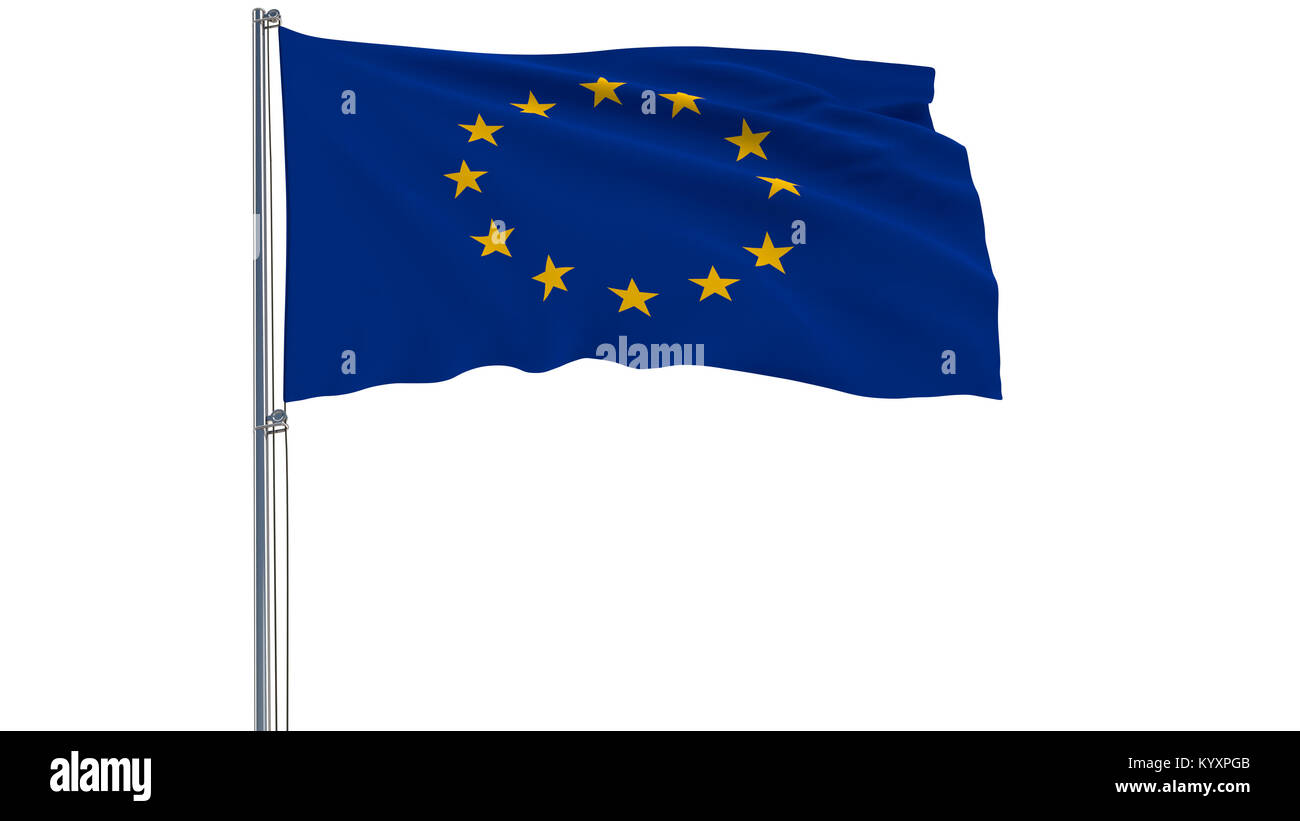 Isolate flag of the Europa on a flagpole fluttering in the wind on a white background, 3d rendering - Stock Image