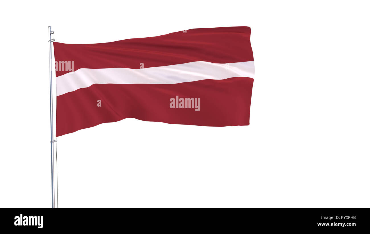 The flag of Latvia on the flagpole fluttering in the wind on white background, 3d rendering - Stock Image