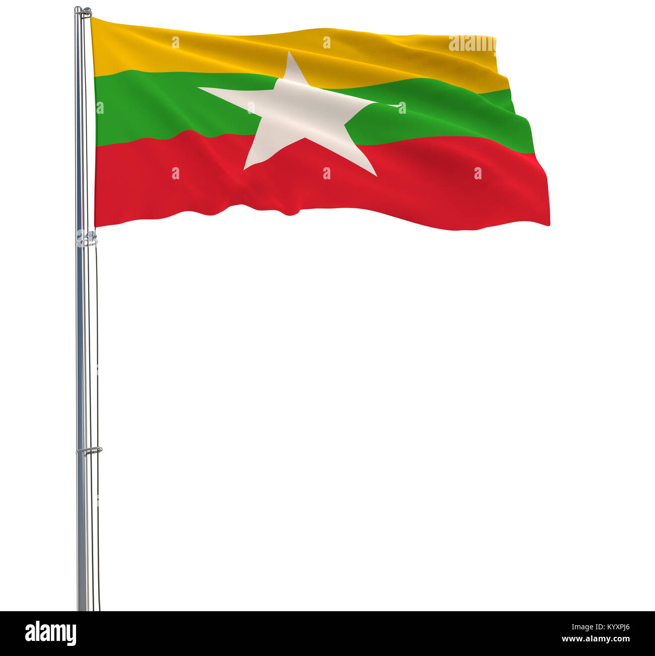 Isolate flag of Myanmar on a flagpole fluttering in the wind on a white background, 3d rendering - Stock Image