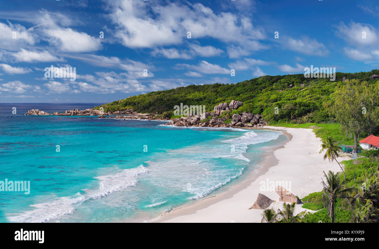 Aerial view of Grand Anse Beach in La Digue island, Seychelles. - Stock Image