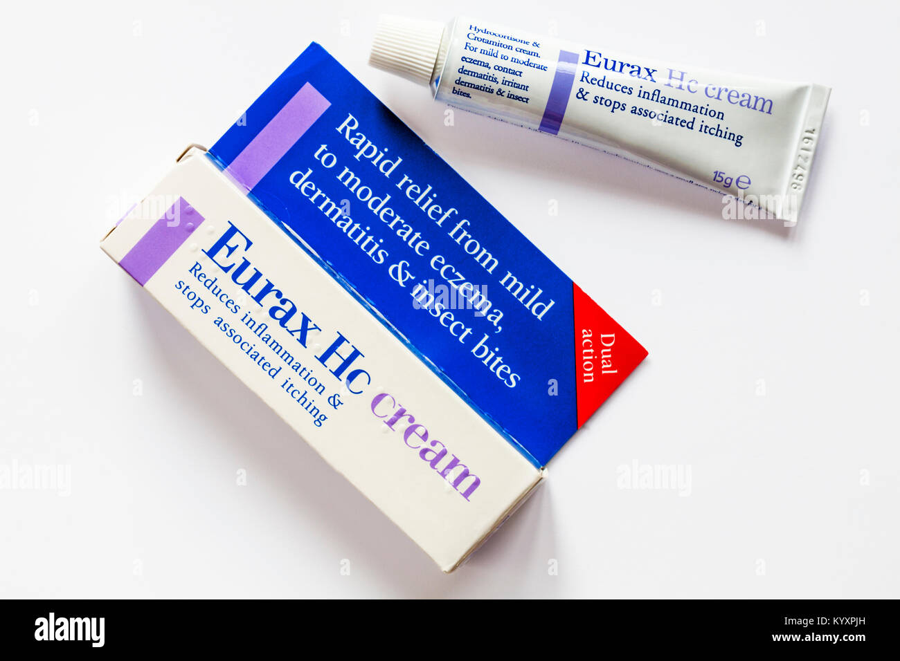 Eurax Hc cream reduces inflammation & stops associated itching - tube removed from isolated on white background - Stock Image