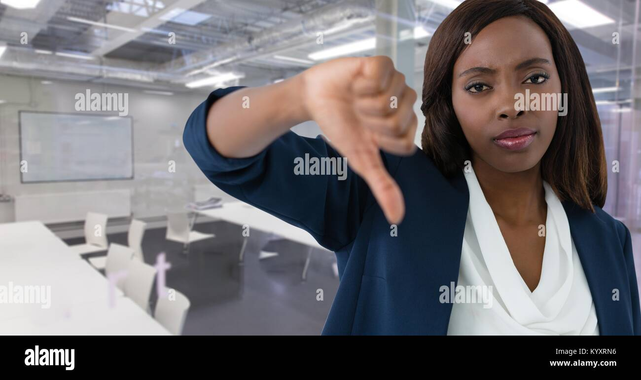 businesswoman with thumbs down - Stock Image