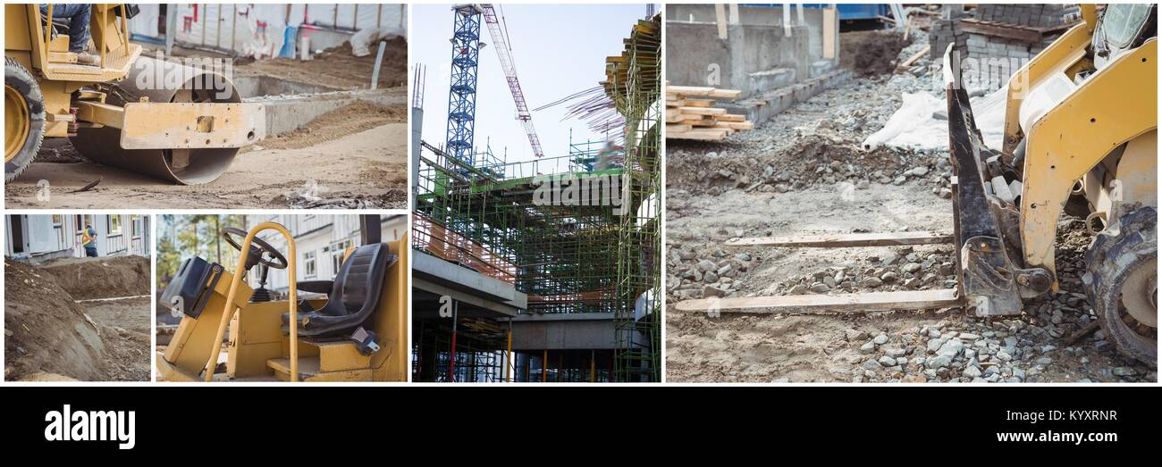 construction work machines collage - Stock Image