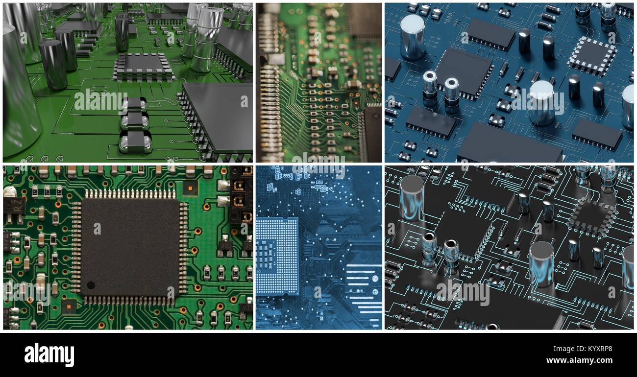 pcb collage, computer hardware collage - Stock Image
