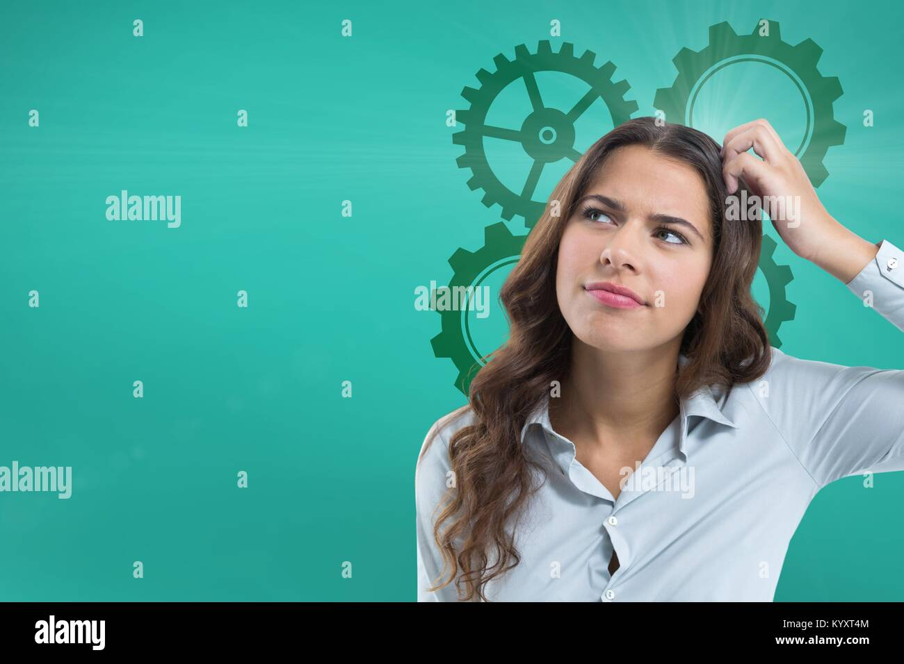 Confused woman scratching her head looking up with cogs - Stock Image