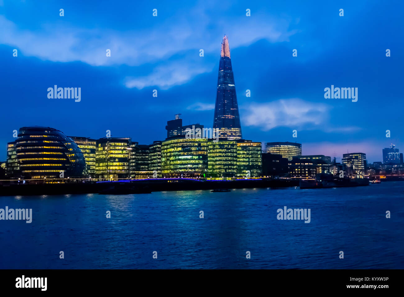 City Hall and The Shard, Embankment / River Thames, London Stock Photo