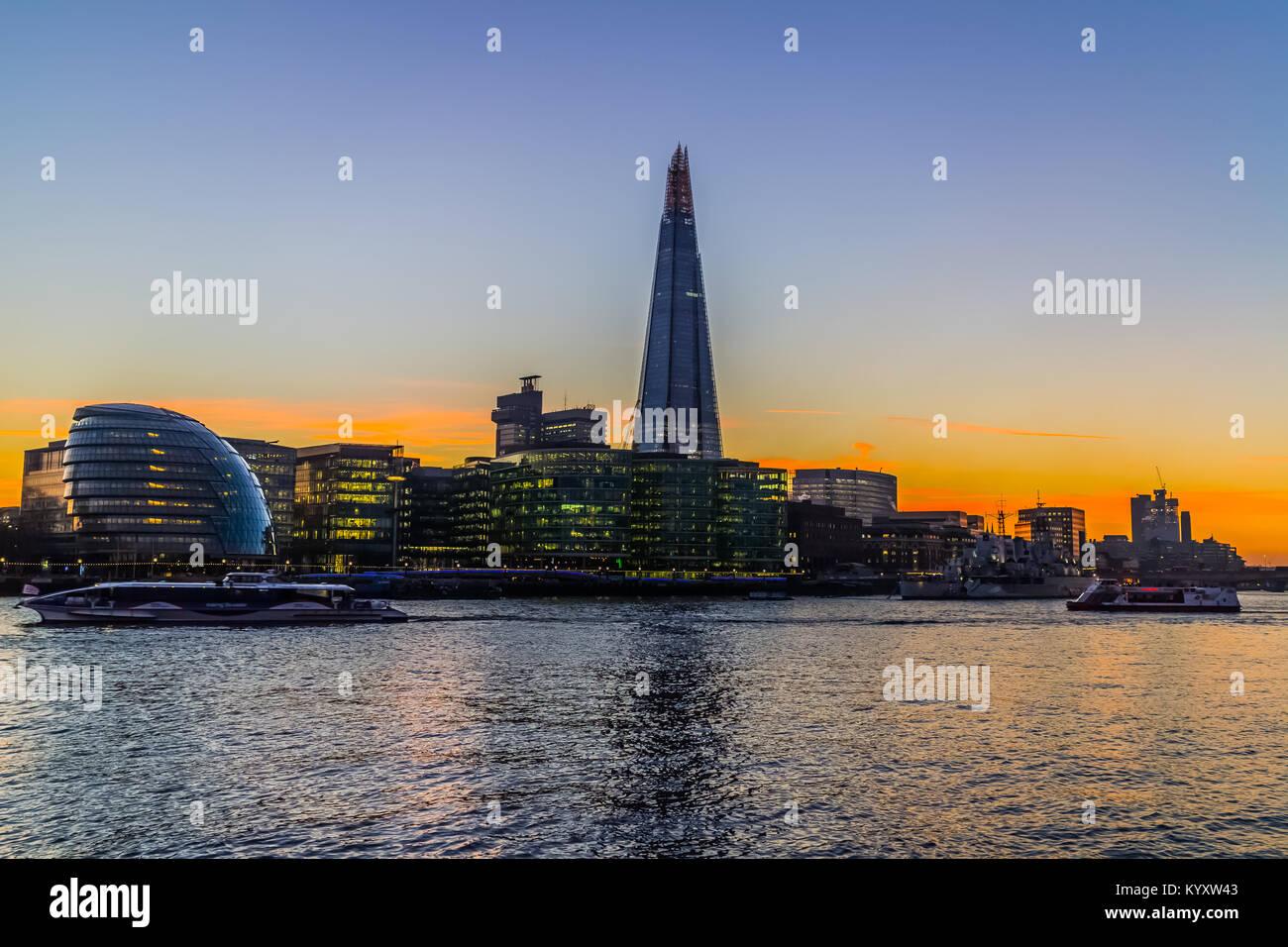 City Hall and The Shard, Embankment / River Thames, London Stock Photo