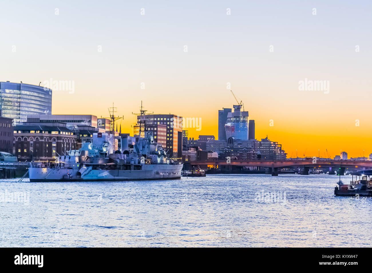 HMS Belfast, Embankment / River Thames, London Stock Photo