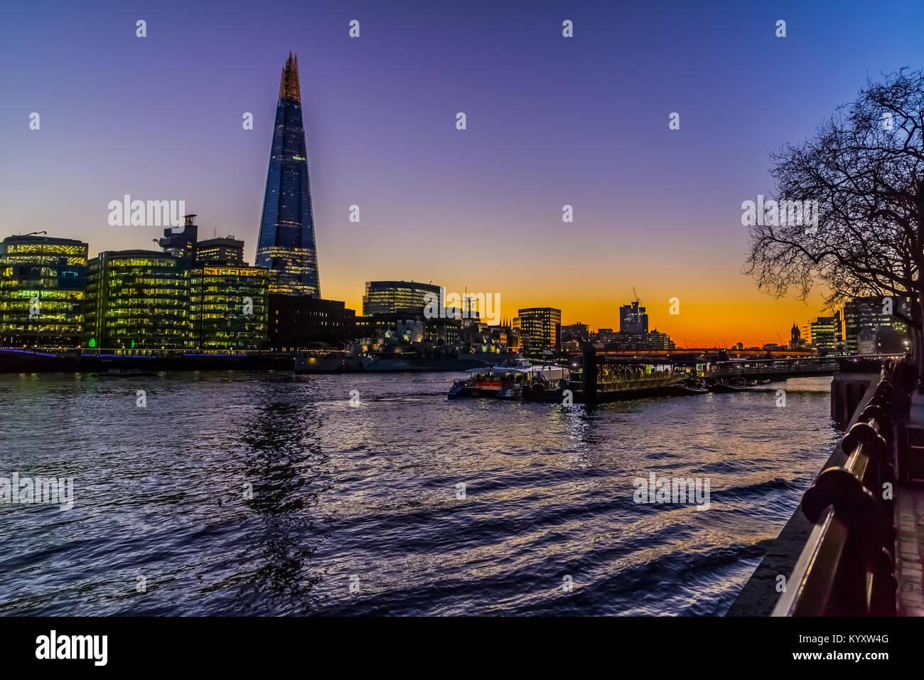 The Shard, Embankment / River Thames, London Stock Photo