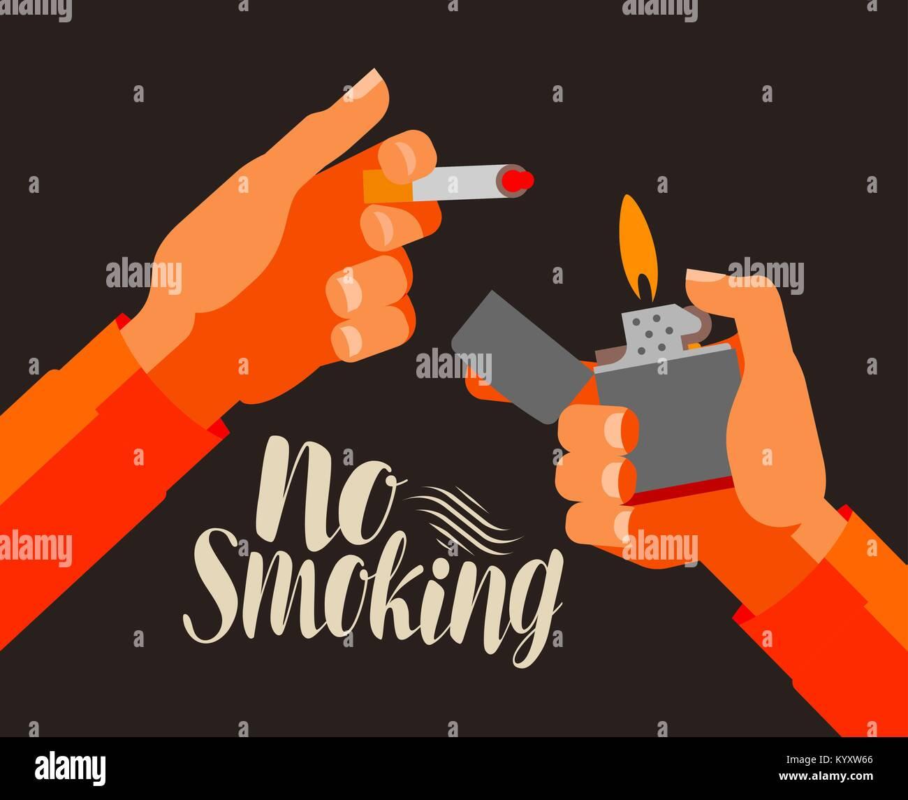 No smoking, banner. Nicotine, cigarette, tobacco concept. Cartoon vector illustration - Stock Image