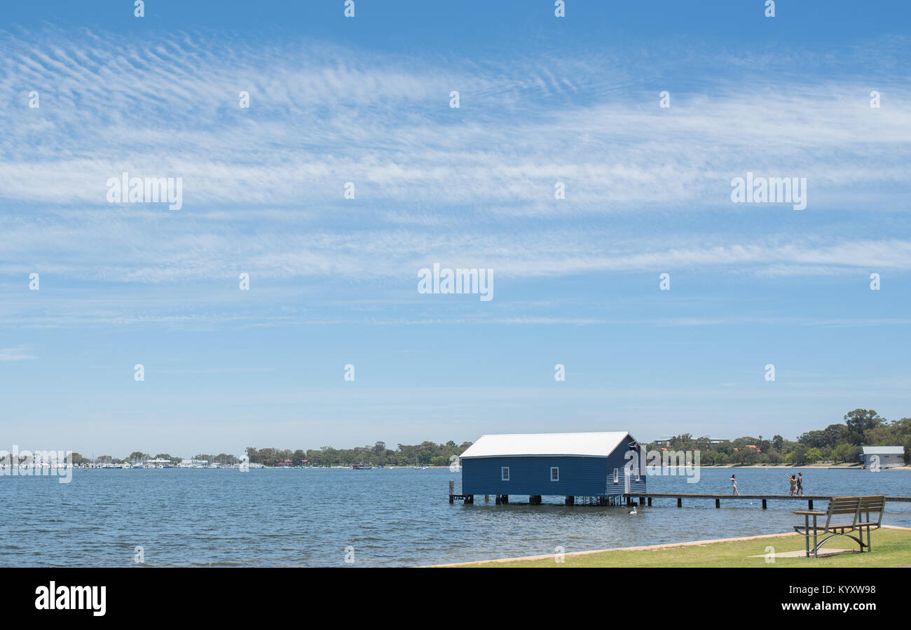 PERTH, Australia, WA / Western Australia - 2017 December 22, Swan River, Blue Boat House . (Photo by Ulrich Roth - Stock Image