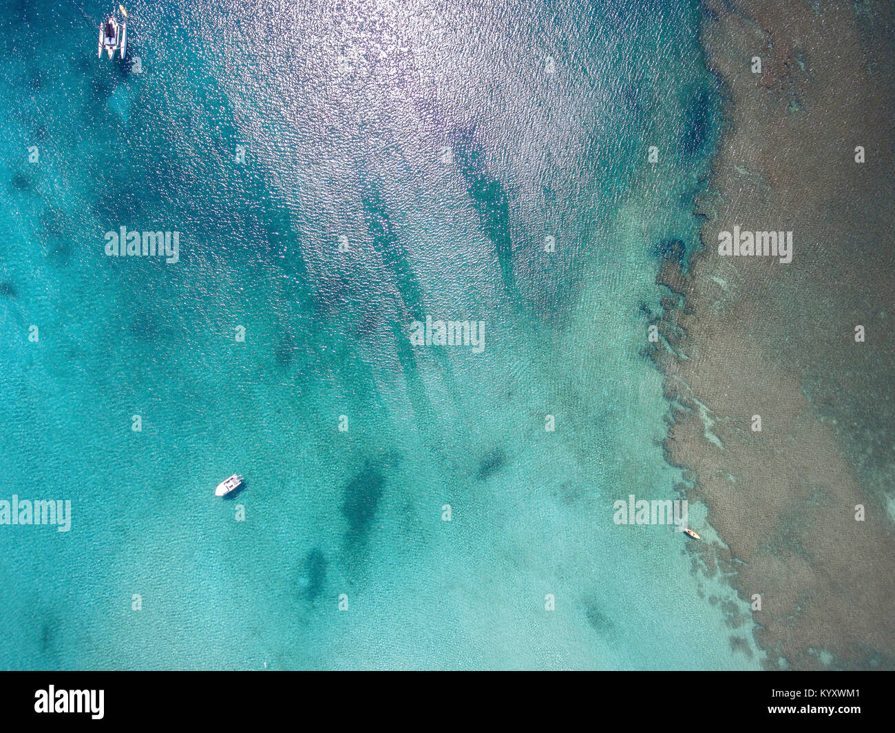 High angle view of boats sailing in sea - Stock Image