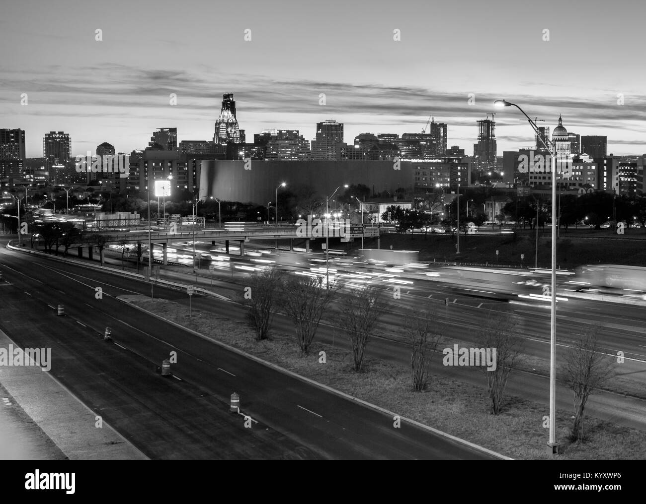 Black and White Picture of Downtown Austin from IH35 - Stock Image