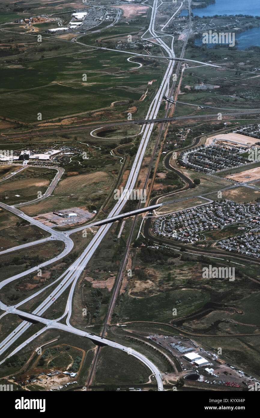 High angle view of intersecting highways - Stock Image