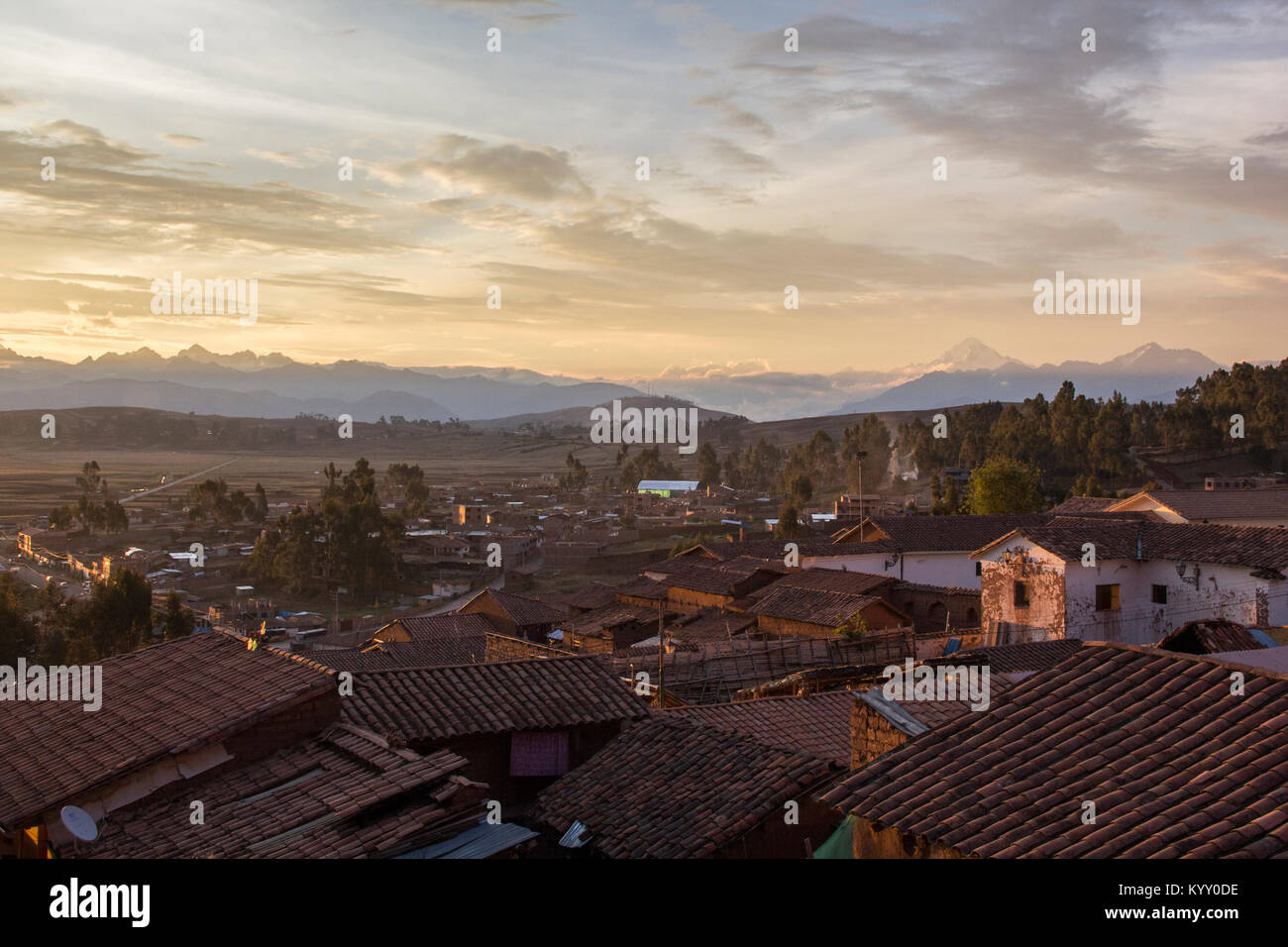 High angle view of houses against cloudy sky - Stock Image