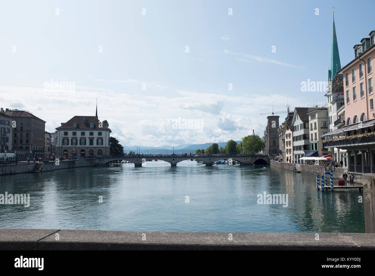 Bridge over Limmat River against sky in city - Stock Image