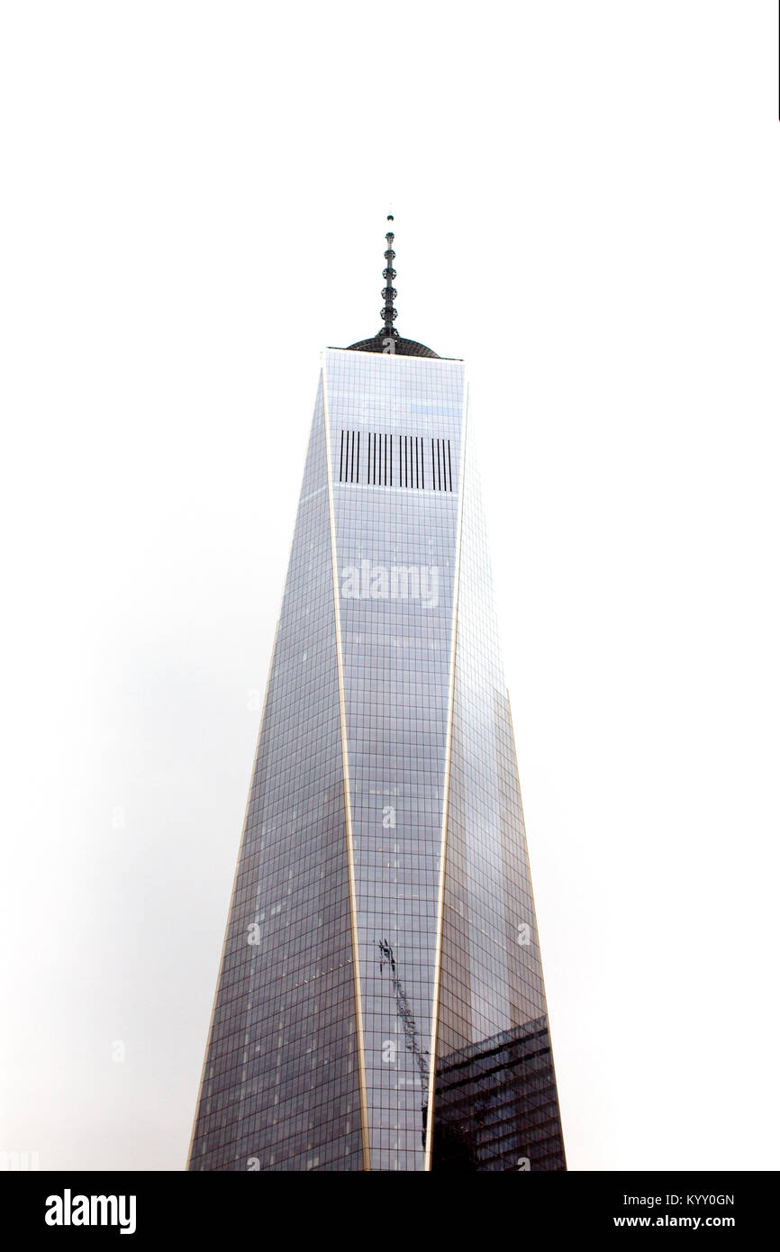 Low angle view of One World Trade Center against clear sky in city - Stock Image