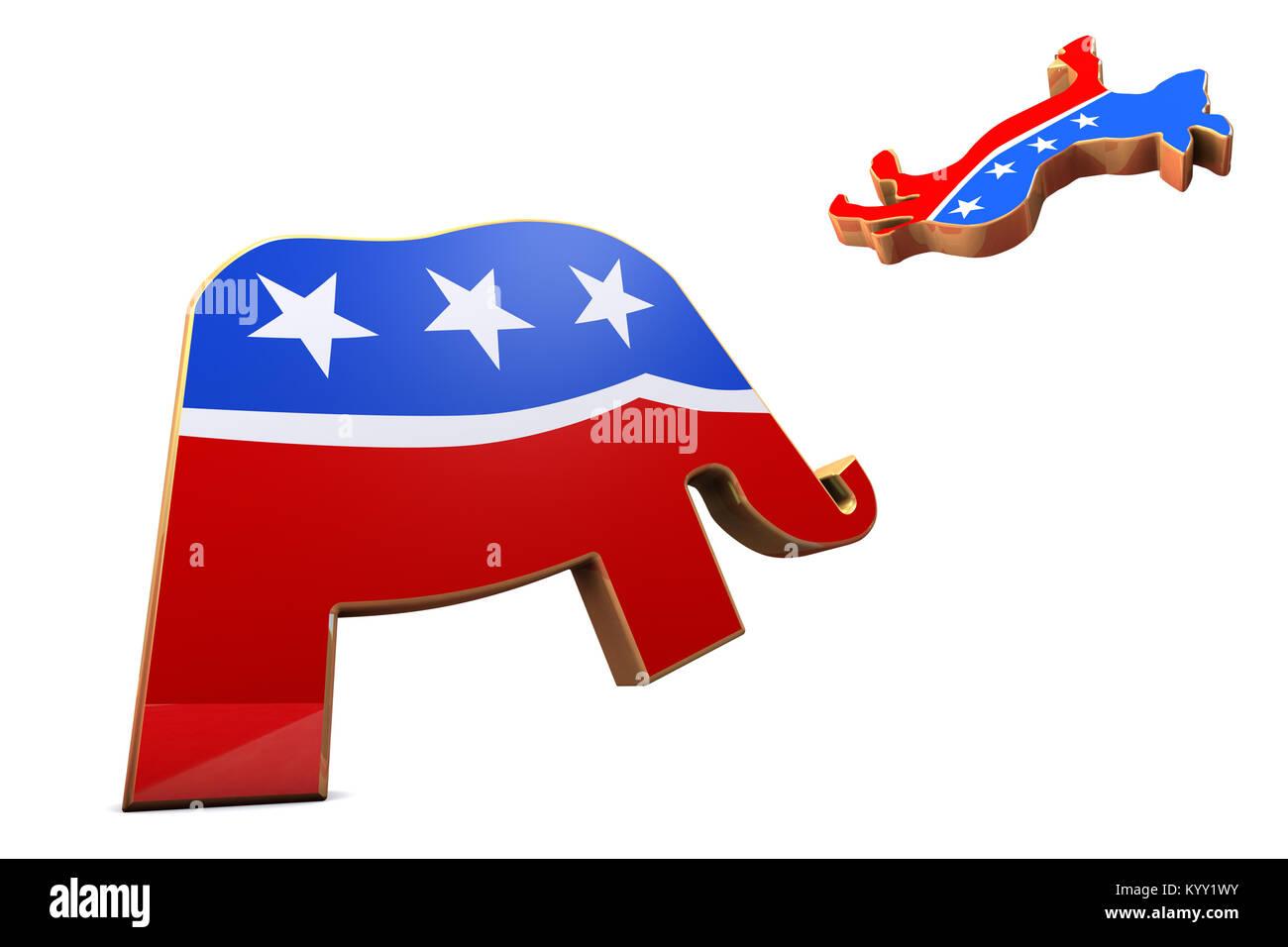 Usa political parties symbols stock photos usa political parties democrat party and republican party symbols stock image biocorpaavc Choice Image