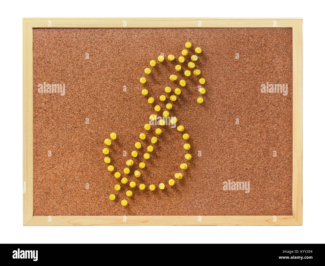 Plastic pins in U.S. dollar shape - Stock Image