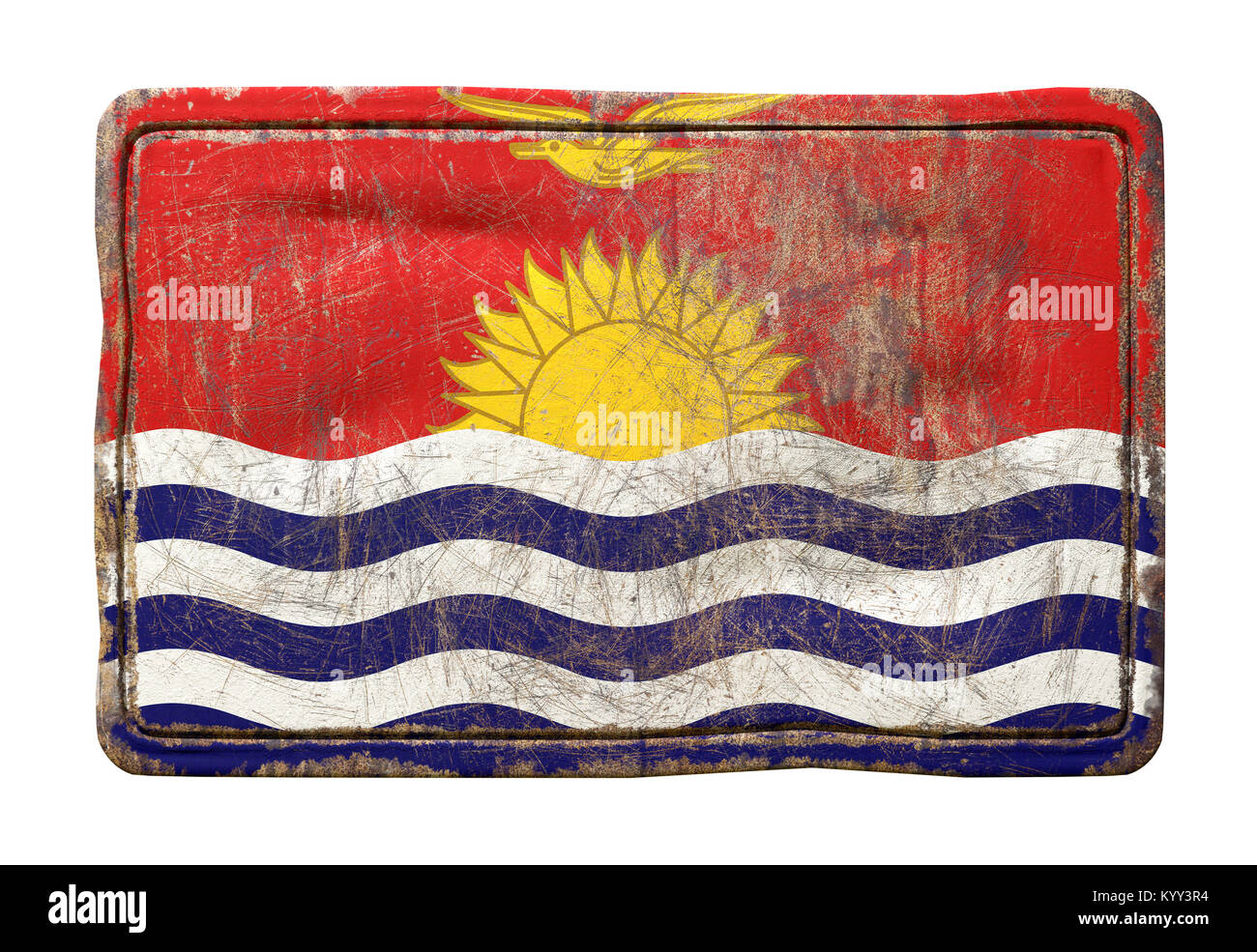 3d rendering of a Kiribati flag over a rusty metallic plate. Isolated on white background. - Stock Image