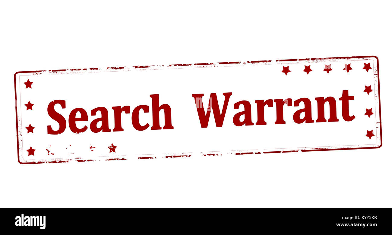 Rubber stamp with text search warrant inside, vector illustration - Stock Image