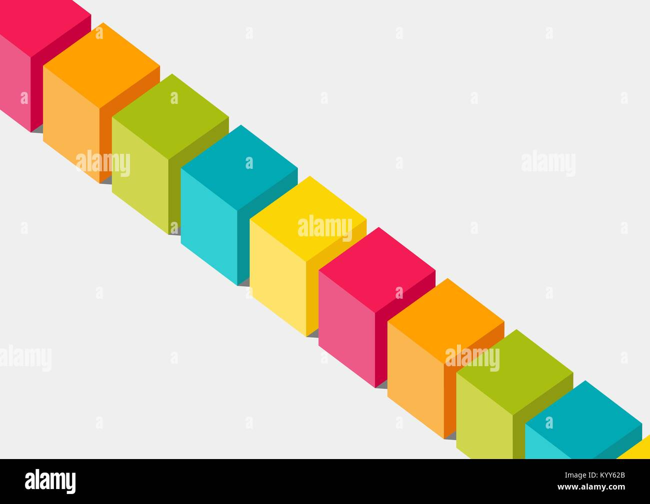 Flat design vector illustration of 3-dimensional colorful boxes or blocks. Concept for blockchain or diversity - Stock Image