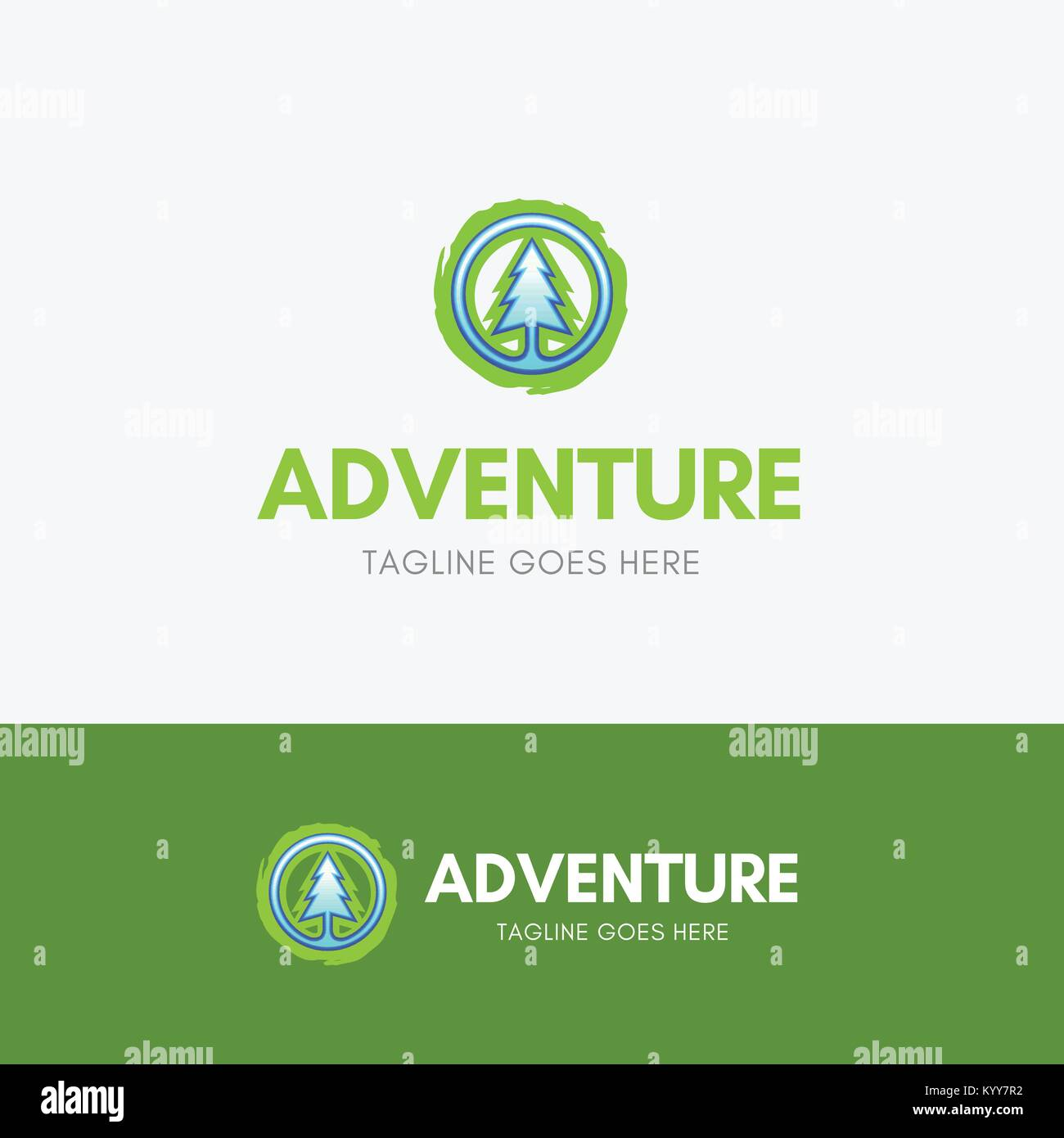 Adventure Logo Template icon with simple pine symbol - Stock Vector