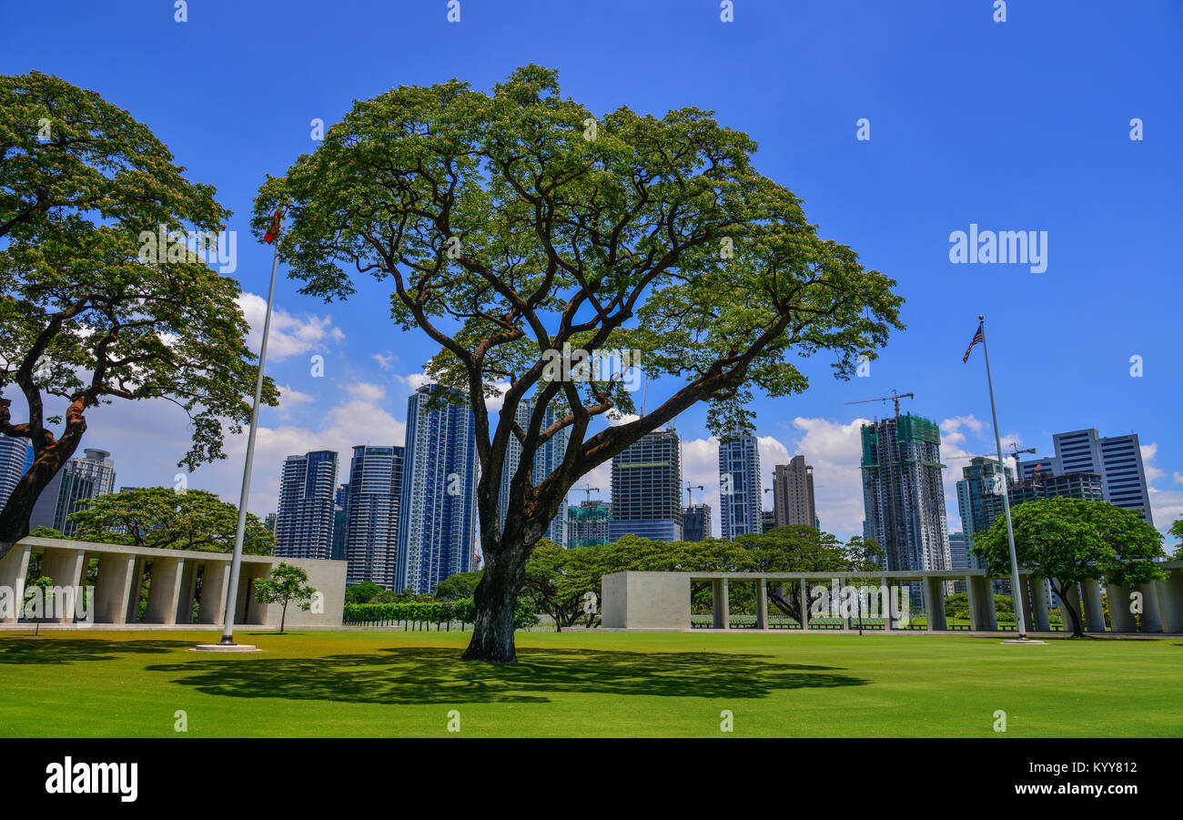 Manila, Philippines - Apr 13, 2017. Manila American Cemetery with green tree garden. Cemetery honors the American Stock Photo