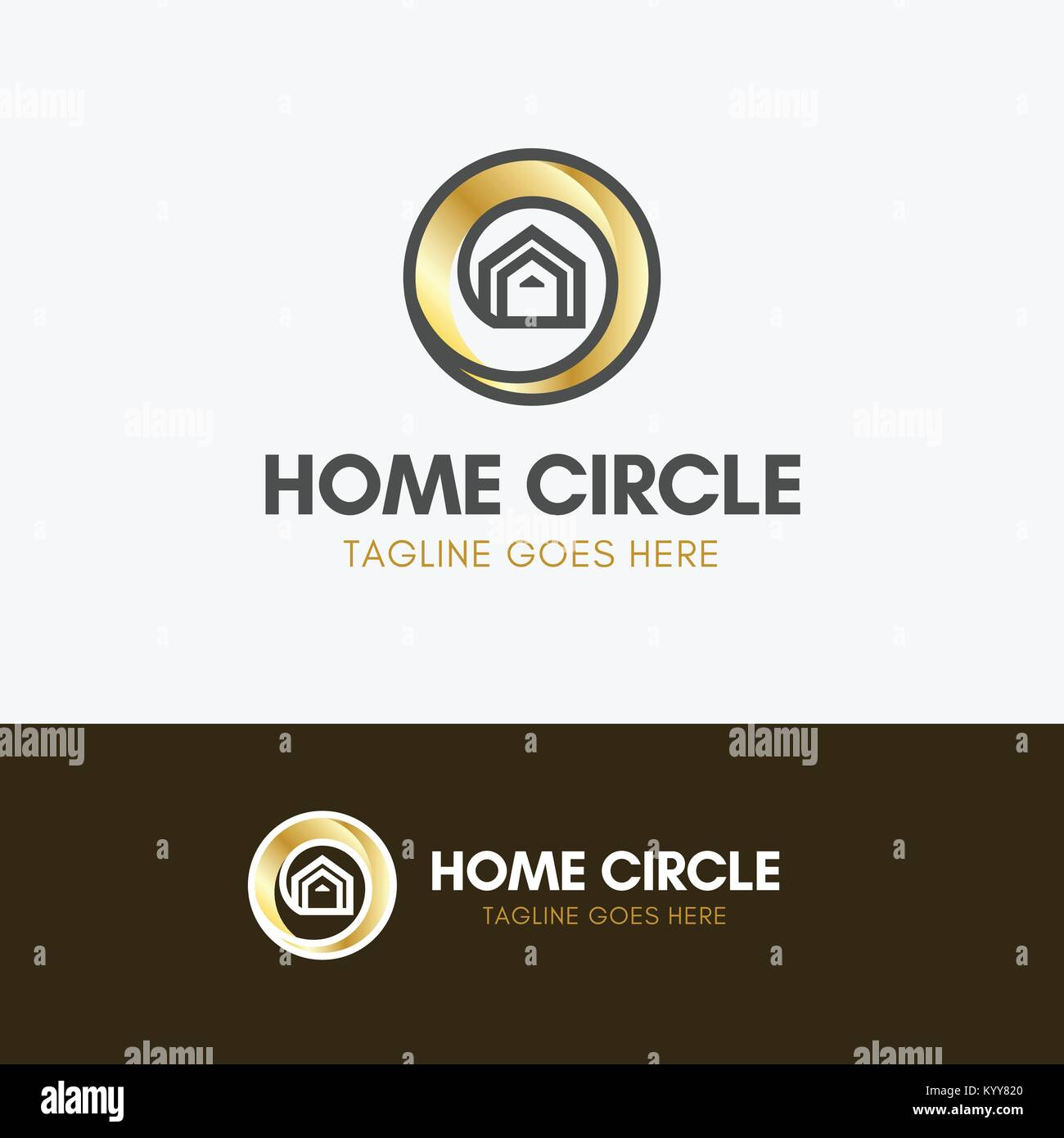 Home Circle Logo Template Element Symbol In Gold Color Stock Vector