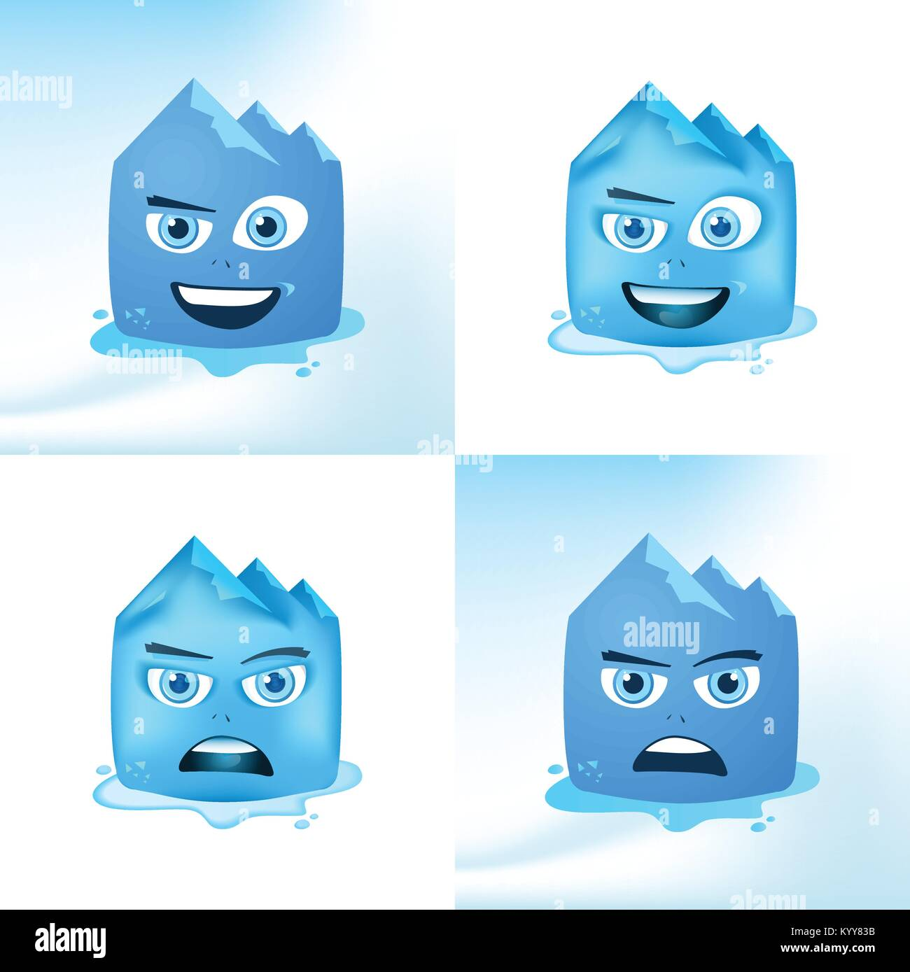 Funny Face Glacier Cartoon Expressions In Blue Color Childish Vector Design - Stock Vector