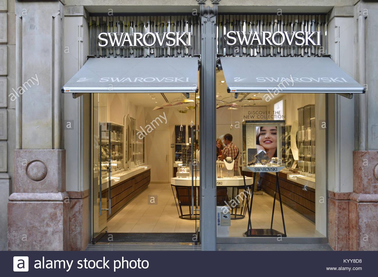 01835c3df3d0 Swarovski crystal jewelry brand store window in Barcelona Spain Europe -  Stock Image