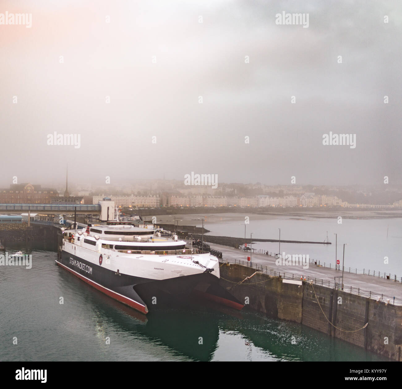 Isle Of Man Steam-Packet ferry vessel docked in Douglasmorning - Stock Image